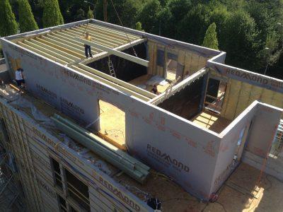 edificio de pisos con panel prefabricados de madera