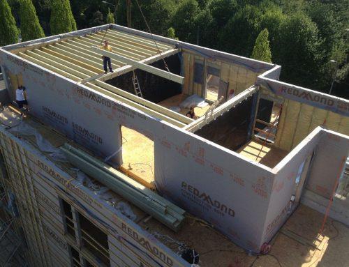 Edificio de pisos de construcción sostenible con estructura de madera