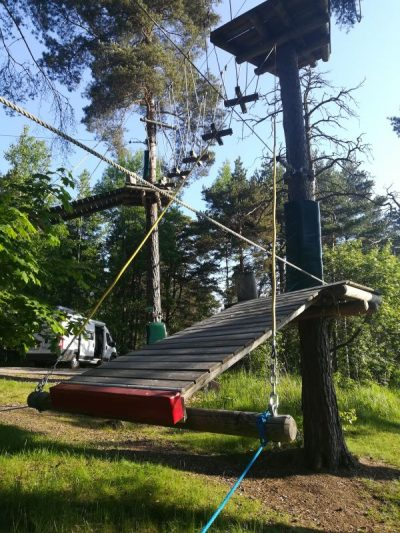 inspeccion de parque de aventura en arboles